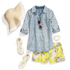Love this preppy summer gingham shirt and bright florals. I prefer a 5 inch inseam or longer on shorts. Fix Clothing, Stitch Fix Outfits, Gingham Shirt, Stitch Fix Stylist, Patterned Shorts, Printed Shorts, Floral Shorts, Cute Tops, Style Me