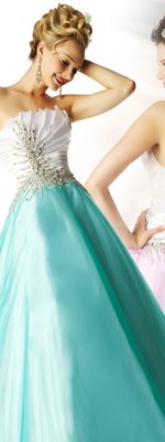 Mac Duggal 2012 Ballgowns - White  Teal Pleated Taffeta  Tulle Strapless Lace Up Prom Gown
