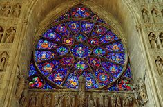 Notre-dame de reims, France (Reims Cathedral) Rose window