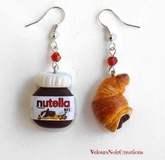 Orecchini nutella e croissant in fimo , by Velours Noir Crèations, 8,50 € su misshobby.com
