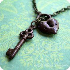 Locked Up Tight lock and key brass lariat by HeatherlyDesigns