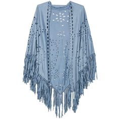 Persun Coffee Suedette Laser Cut Fringed Cape Shawl Wrap Scarf ($20) ❤ liked on Polyvore featuring accessories and scarves