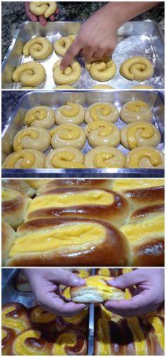 Sensacional! Pão Doce com Creme igual ao de Padaria – Receita Fácil #pão #creme #massa #lanche #doce #receita #gastronomia #culinaria #comida #delicia #receitafacil