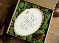 Alternative Wedding Invitation And Save The Date. I love what this says Bonus:MOSS :) Forest Wedding Invitations, Creative Wedding Invitations, Wedding Stationery, Wedding Favors, Original Wedding Invitations, Wedding Sparklers, Wedding Bands, Wood Invitation, Rustic Invitations