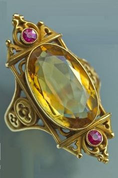 A Gothic Revival gold, citrine and ruby ring, in the manner of Louis Wièse, French, circa 1880. #NeoGothic #GothicRevival #ring #antique