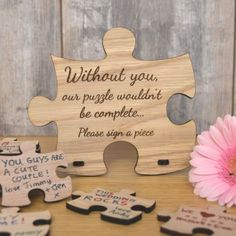 Personalised Wooden Wedding Jigsaw Puzzle Piece Guestbook Jigsaw Puzzle Piece Shaped Personalised Oak Wooden Sign for Wedding Guestbook # Wooden Puzzles, Jigsaw Puzzles, Wooden Toys, Wooden Keychain, Adoption Day, Puzzle Pieces, Puzzle Board, Wedding Signs, Wedding Ideas