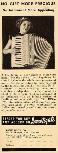1938 Ad Brindisi Accordions Tonk Bros Chicago Italian Original Advertising | eBay