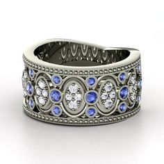 Sterling Silver Ring with Blue Sapphire & White Sapphire  | Renaissance Band | Gemvara