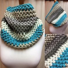 Crochet Cowl, Puff Stitch Cowl, Turquoise and Gray Cowl, Striped Cowl, Multi Color Cowl, Gifts for Her, Circle Scarf, Crocheted Cowl by CozyNCuteCrochet on Etsy
