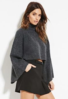 Contemporary Layered Fuzzy Cropped Sweater | Forever 21 - 2000179789