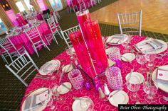 Hot Pink & Crystal Bat Mitzvah Centerpieces with Candles {Party Planner: The Event of a Lifetime, Peter Oberc Photography} - mazelmoments.com