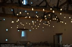Canopy of Bare Bulbs in a Barn. Lighting by Oakwood Events.