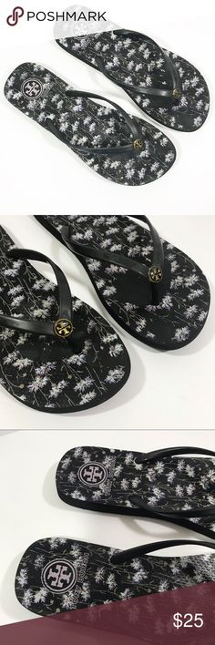 a9ad3c7bcb2b7 Tory Burch black and white floral flip flops Tory Burch flip flop sandals.  Black and white floral print. Size 10 Non-smoking home Offers and bundles  are ...
