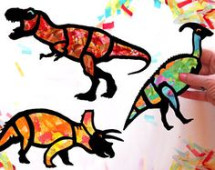 Niños arte dinosaurio vidrieras Suncatcher Kit, proyecto de papel, manualidades niños actividad, usando tejido