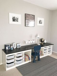 55 DIY Playroom for Kids Decorating Ideas Kids Room Design Decorating DIY Ideas Kids Playroom Trofast Ikea, Ikea Kura, Childrens Desk, Small Childrens Bedroom Ideas, Toy Rooms, Craft Rooms, Kid Spaces, Play Spaces, New Room