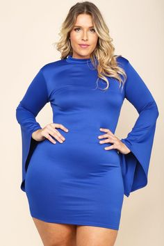 A plus size mini bodycon dress with a round neck opening and long bell sleeves. Features a back keyhole. Solid colored all over.