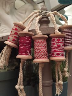 Could be ribbon or DIY bias tapes Handmade Christmas, Christmas Crafts, Christmas Decorations, Xmas, Christmas Ornaments, Wooden Spool Crafts, Wooden Spools, Fabric Crafts, Sewing Crafts