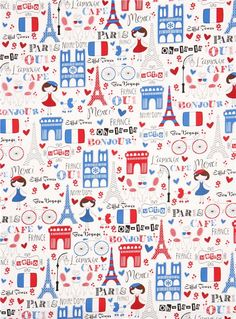 white Timeless Treasures Paris France fabric 2
