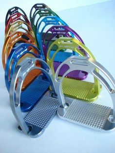 Colourful stirrup irons !! If I got these my trainer would just make me ride without them...