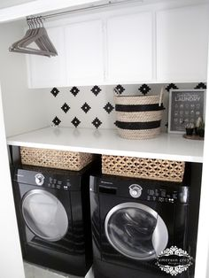 I love pretty much everything about this laundry room makeover. My favorite part is the space saver idea to have a spot to hang clothes right above the machines. Found on Emerson Grey Designs.