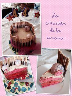 Layer cake rosa con choco blanco y mikados