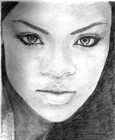 pencil sketches  | Rihanna Pencil Drawing by leanne-27