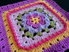 Veronica's Rose Crochet Square Free crochet granny afghan square pattern on lookatwhatimade