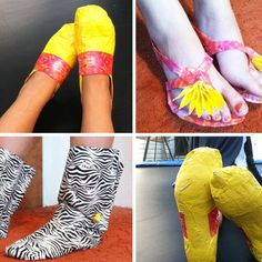 I wonder if these DIY duct tape shoes are comfortable. Duct Tape Projects, Duct Tape Crafts, Duct Tape Shoes, Hot Pink Shoes, Jungle Print, Duck Tape, Girl Tips, Girls Camp, Diy Photo