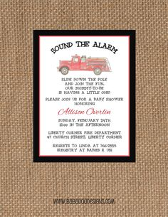 Fire Truck Baby Shower Invitation.  Vintage Fire Truck  www.BabadooDesigns.com