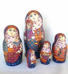 Russian Family Matryoshka Hand Carved Hand Painted Nesting Dolls set Babushka