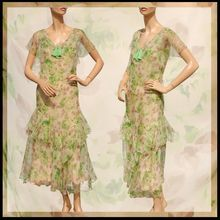 Vintage 1930s Silk Chiffon Dress // Pastel Green & Brown Floral Print by Poppy's Vintage Clothing