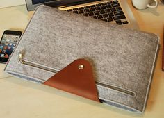 "Felt 15"" Macbook New / Old 13'' Macbook Pro Case Sleeve Leather cover Felt  Handmade Custom Made  (605L)"