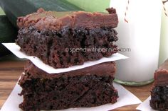 Easy Zucchini Brownies with 1 Minute Frosting! Love it?  Pin it to your DESSERT board to SAVE it! Follow Spend With Pennies on Pinterest for more great recipes! I have lots of yummy zucchini from my garden... and wanted to get some of it used up.  I...