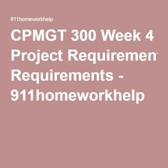Cpmgt  Week  Planning Process Groups Paper Write A  To