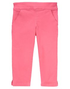 Colorful and comfy, she'll spring through the whole season in our capri pant. Sturdy cotton twill is soft and durable, with ribbon bows on back pockets for girly style.