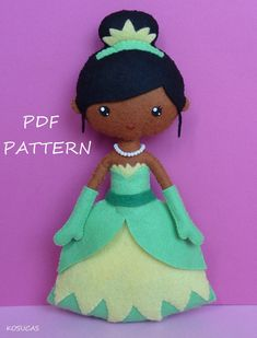 PDF sewing pattern to make a felt doll inspired in Tiana, 7.8 inches tall.  It is not a finished doll.  Includes tutorial with pictures and step by step