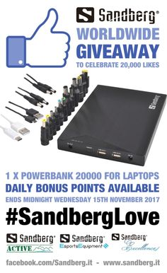 Worldwide Giveaway – To celebrate @SandbergIT reaching 20k LIKES on Facebook, we are giving away 1x Powerbank 20000 For Laptop – Click here to enter - https://gleam.io/xZ6HB/20k-likes-giveaway … #SandbergLove #WIN #giveaway #Competition