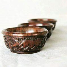 Set of three ebony wood ramekins handmade in South Africa. Find us on Etsy at:  https://www.etsy.com/uk/shop/BeautifulAfrican