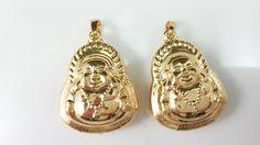 2 pcs double sided Buddha Pendants Buddha por acejewellery Buddha Jewelry, Buddha Beads, Spiritual Jewelry, Yoga Jewelry, Jewelry Design, Pendants, Gold, Buddha, Pendant