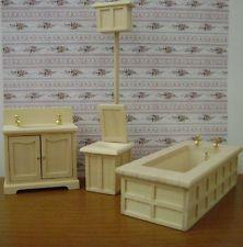 Casa delle bambole-BAGNO VITTORIANO IN LEGNO-dollshouse-prezzo bassissimo!