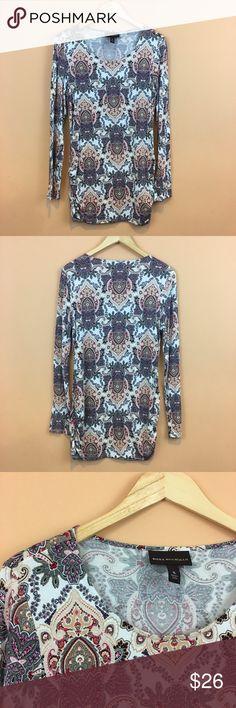 "Dana Buchman Paisley Print Long Sleeve Top XL Dana Buchman Paisley Print Long Sleeve Top XL Pit to pit 21""; length 31'/ sleeve Length 31""  95% rayon/ 5% spandex. EUC Dana Buchman Tops"