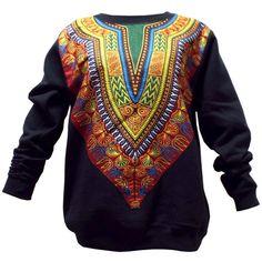 African Print Dashiki Sweatshirt (Maroon/Green)