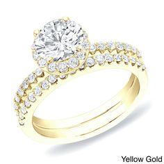Auriya 14k Gold 1 1/4 ct TDW Round Diamond Halo Bridal Ring Set (H-I, SI1-SI2) (Yellow Gold-Size 7), Women's