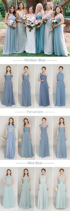 shades of blue mismatched bridesmaid dresses