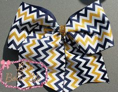 Navy, Glitter Gold and White Chevron Cheer Bow by LivinTheBowLife on Etsy