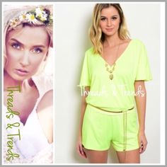 "Flirty Neon Deep V Romper neon romper featuring a deep V bodice with a hidden snap closure. Tee bar detail with gold hardware on back as well as a one size fits all gold metal adjustable belt included. Perfect for  summer fun events or wear as a cover up.                                                    Small  Bust 36"" Waist 30"" Hips 38"" Rise 9.5"".                                                       length 31"" Medium Bust 40"" Waist 32"" Hips 40"" length 31"" Large  Bust 42"" Waist 34"" Hips…"