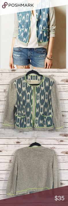 Anthropologie Blazer Souvenir Edition Staci Woo 100% Cotton Ikat Print blazer from Souvenir Edition by Staci Woo. Excellent, like new condition with no stains or holes. Perfect for the upcoming spring and summer! Thanks for shopping our closet! Anthropologie Jackets & Coats