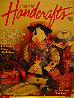 Vintage Country Handcrafts Bazaar 1994,June/July.Volume 12,Number 5.Ideas and patterns that complement country living and country decorating.Patterns and instructions included.Index listed in picture.