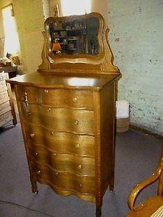 antique Oak dresser highboy w/ beveled mirror bureau Refinished 1900's