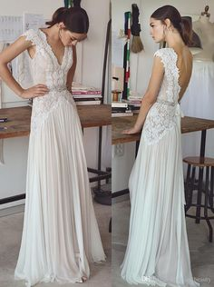 Real Picture vintage lace beaded wedding dresses simple A-line v neckline v backless sweep train bridal gowns Boho Wedding Gowns n014